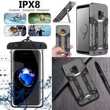 Genuine Armor Card Slot Stand Slim Case+Waterproof Bag For iPhone Samsung Phones
