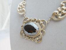 Danecraft Sterling Silver, Large Beveled Cut Hematite Center Stone Necklace