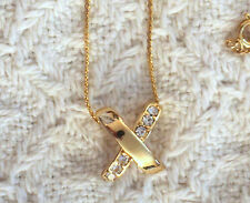 """Vintage Avon Crystal Cross 18"""" twisted gold tone necklace"""