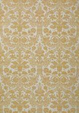 2 Dbl Rolls THIBAUT 89116 CURTIS DAMASK Metallic Gold on White Cork Wallpaper