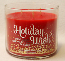 BROKEN Bath Body Works HOLIDAY WISH GOOD CHEER GOLDEN APPLES SPICE 3-Wick Candle