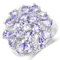 Cluster Wedding Engagement Ring 3.35 ct Genuine Tanzanite in 925 Sterling Silver