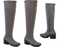WOMENS LADIES STRETCH OVER THE KNEE HIGH PLATFORM ZIP UP BOOT BOOTS SHOES