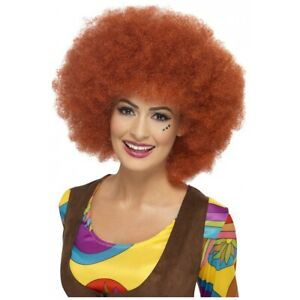 Auburn Red Curly Afro Wig Adult 70s Disco or 60s Hippie Costume Fancy Dress