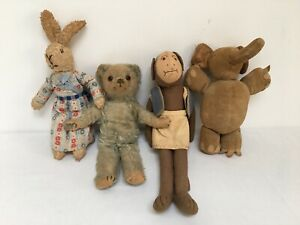 Vintage 1950s/60s Soft Toys Bundle - Teddy Bear, Monkey, Elephant & Rabbit