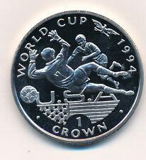 GB Gibraltar Elizabeth II 1 Crown Fußbal SOCCER WORLD CUP 1994 Silber UNC #45