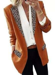 Womens Office Work Suit Blazer Ladies Casual Leopard Coat Jacket Autumn Cardigan