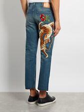Neu Original Gucci Tiger Jeans bestickt 30 blau Slim Fit Cropped Tag Rechnung