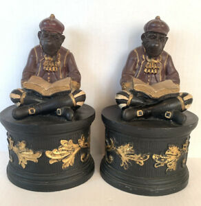 """Vtg Sterling Industries Black Gold Monkey Bookends Book Philippines 8.5"""" Tall"""