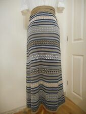 Nicole Farhi Net A Porter Blue Brown Stripe Linen Cotton Wrap Skirt UK Small