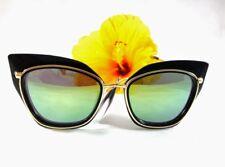 Cat Eye Sunglasses Mirror Frame Metal Gold-Plastic Black Green Lens