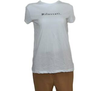 T-shirt donna basic bianca modello slim bianca con scritta RILASSATI cotone made