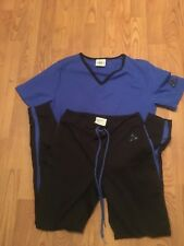 Women's Speedo Blue and Black Matching Fitness Pants and Top, Size M