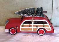 "Red Metal Car Family Truckster Tree Wondershop 2017 Station Wagon Christmas 8"""