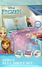 Disney Frozen 4 Piece Full Sheet Set Fitted Flat 2 Pillowcases Nordic Frost NEW