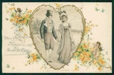 Art Nouveau Romantic Couple Heart Relief serie 8100 postcard TC4595