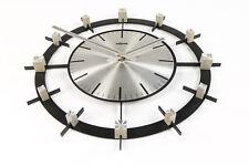 Alte Wand Uhr Peweta mit Quartz Werk Vintage Steel Design 70er Jahre