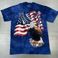 New Vtg 2001 The Mountain American Flag Bald Eagle Blue Tie Dye T-Shirt Men's L