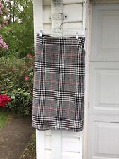 NWT Talbots Black White Red Plaid Wool Skirt 18W Petite Length 2X