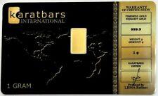 2013 GOLD KARATBARS INTERNATIONAL 1 GRAM 999.9 FINE BAR SEALED IN ASSAY CARD