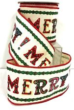 "MERRY Canvas Style Wired Ribbon~Multi Color~4"" W x 10 yds"