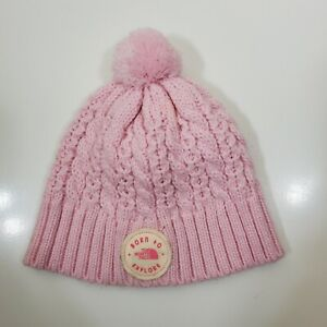 North Face Born to Explore Baby Minna knitted pom Hat Size XS 6-24 months pink