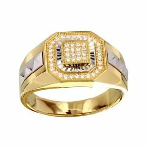 Men's Sterling Silver Yellow Gold Plated 2-tone Square Ring w/ 46 CZ Stones