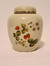 "Ceramic 4"" Ginger Jar Strawberry with Purple Flower Design Gold Trimmed Japan"