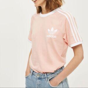 Adidas Women 3 Stripes Tee T-shirt Short Sleeve Pink Ladies RRP £29.99