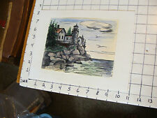 Original drawing by Victor Flanders 1981: house with light house by ocean