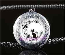 Black Cat In Flower Moon Cabochon Glass Tibet Silver Locket Pendant Necklace