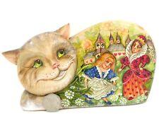 Cheshire CAT FIGURE Hand Carved painted Alice in Wonderland Duchess White Rabbit
