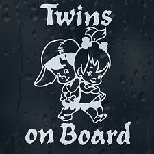 Twins On Board Funny Boy And Girl Car Decal Vinyl Sticker For Bumper Or Window