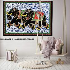 ELEPHANT PAIR BATIK Indian Cotton Poster Wall Hanging Tapestry Table Cloth Gypsy