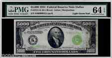 "FR 2221K FEDERAL $5,000 1934 GRADED PMG 64EPQ! ""LIGHT GREEN SEAL"" TWO DIGIT #32"