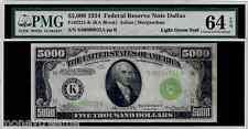 "FR 2221K FEDERAL $5,000 1934 GRADED PMG 64EPQ! ""LIGHT GREEN SEAL"" TWO DIGIT #32"