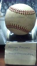1961 Elmira Pioneers Autographed Hank Allen & HOF Wilbur Moose Johnson baseball