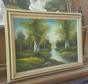 C. Hall Original Painting Oil on Canvas Framed 43 x 32