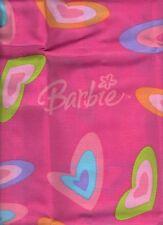 Barbie Always Sweet Pillow Sham Pink Hearts Kids Girls Blue Green