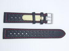 Di-Modell Impermeable perforado 20 mm Negro reloj banda correa Rallye Wapro Rojo