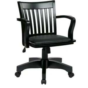 Solid Wood Bankers Desk Chair Swivel Rolling Black Padded Seat NEW