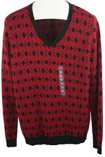 Kim Rogers Womens Ladies  V-Neck Red Black Geometric Print Knit Sweater Size XL