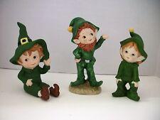 Vintage Lefton Elf Pixie Leprechaun Figurines Set  3 Piece Set