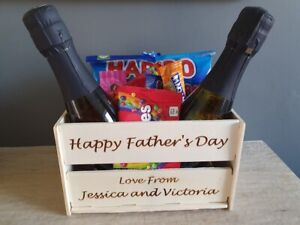 Small Wooden Crate Fathers Day Birthday Christmas Gift Decoration Hamper