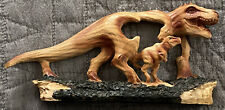 "T-Rex Tyrannosaurus Dinosaur Faux Carved Wood Look Figurine 4�H 6""L Resin New!"