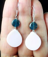 RARE V.PRETTY PINK WHITE CONCH SHELL & BLUE APATITE STERLING SILVER EARRINGS