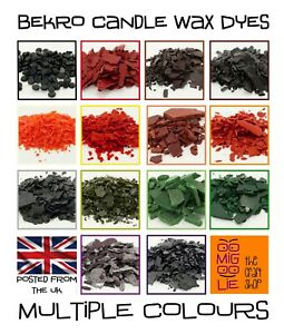 Bekro Candle Dye Pure Wax Chips Flakes Dyes Great Colours Candle Making from UK