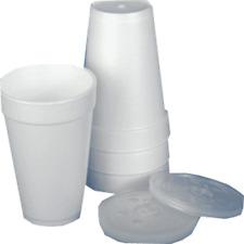 100 x 12oz (34cl) POLYSTYRENE/FOAM/DART CUPS & LIDS