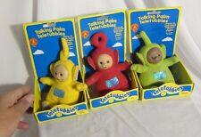 3 Vintage Talking Palm Teletubbies Small Plush Dolls Po Dipsy Laa Laa