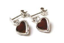 9ct White Gold Garnet Heart Dangly Drop Earrings Made in UK Gift Boxed